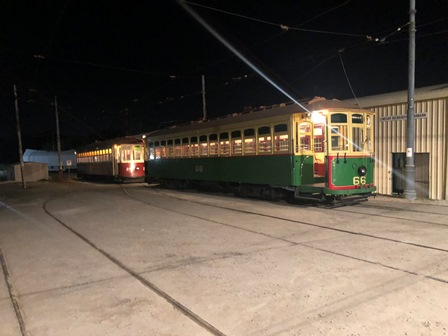 PETS trams at night